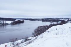 Río del invierno del abedul en ciudad Imágenes de archivo libres de regalías