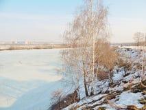 Río del invierno cubierto con hielo en la ciudad imagenes de archivo