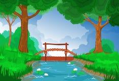 Río del papel pintado, de madera y del bosque con una presa Imagen de archivo libre de regalías