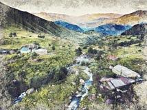 Río del pueblo de Roshka y montañas verdes alrededor, Georgia Digita libre illustration