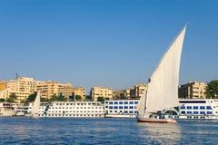 Río el Nilo en Asuan Foto de archivo libre de regalías