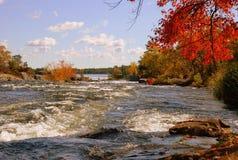 Río en campo otoñal Imagenes de archivo
