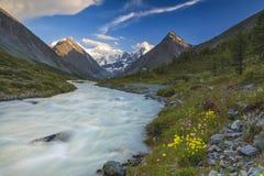 Río en el fondo de las altas montañas Imágenes de archivo libres de regalías