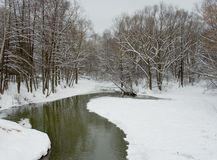 Río en invierno Foto de archivo libre de regalías