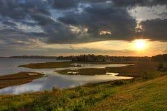Río en la puesta del sol Imágenes de archivo libres de regalías