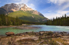 Río en los Rockies canadienses imagenes de archivo
