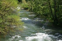 Río en primavera, Herculane, Rumania de Cerna Fotos de archivo libres de regalías