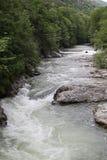 Río en primavera, Herculane, Rumania de la montaña de Cerna Imagen de archivo
