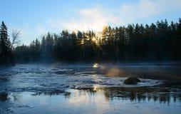 Río en salida del sol Fotografía de archivo