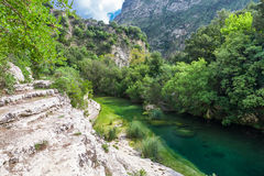 Río en un valle verde Imagen de archivo libre de regalías