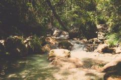 Río fluído de la montaña en las montañas europeas Imagen de archivo