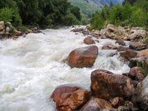 Río frío rápido de la garganta de la montaña Imágenes de archivo libres de regalías