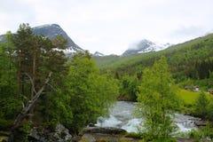Río glacial, Noruega foto de archivo