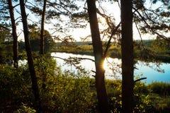 Río hermoso de la puesta del sol del planeta del lugar Imagen de archivo libre de regalías
