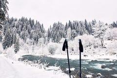 Río hermoso del invierno en un barranco en un alza del invierno Imagen de archivo