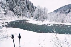 Río hermoso del invierno en un barranco en un alza del invierno Foto de archivo libre de regalías