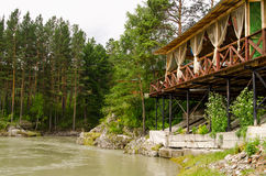 Río Katun en las montañas de Altai, terraza de madera sobre el río, bosque hermoso Imagenes de archivo