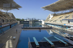 Río 2016 lugares olímpicos: Maria Lenk Aquatic Center imágenes de archivo libres de regalías