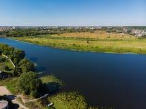 Río Matyra en la ciudad de Gryazi en Rusia, encuesta aérea Fotos de archivo