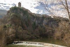 Río medieval de Castellfollit de la Roca Fluvia Imágenes de archivo libres de regalías