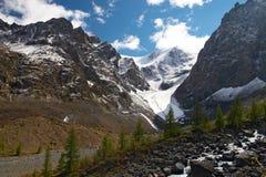 Río, montañas y árboles. Fotos de archivo libres de regalías
