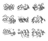 Río, montañas y sistema de los iconos de la naturaleza ilustración del vector