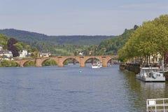 Río Neckar en Heidelberg fotos de archivo