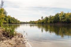 Río o lago en otoño temprano en el bosque fotos de archivo