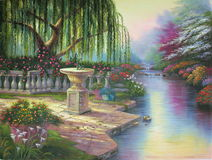 Río original de la pintura al óleo Foto de archivo libre de regalías