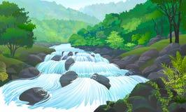 Río que fluye sobre los cantos rodados inmuebles y las enredaderas que se arrastran en las rocas ilustración del vector