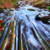 Río rápido de la montaña en otoño Fotos de archivo