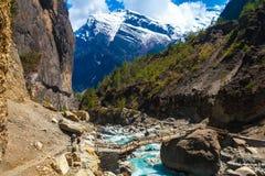 Río rápido de las montañas del paisaje que camina Himalaya Fondo de madera de la estación de verano del final del puente de la he Foto de archivo libre de regalías