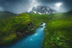 Río rápido hermoso que fluye en la luz de la mañana, brumosa, estación de verano foto de archivo libre de regalías