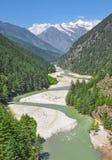 Río santo de serpenteo de Ganga imagen de archivo