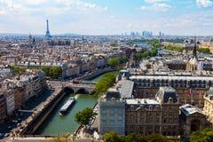 Río Seine de la visión superior imágenes de archivo libres de regalías