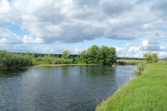 Río, tierra con los árboles y cielo nublado Foto de archivo libre de regalías