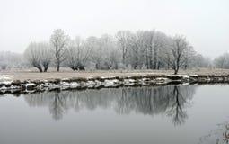 Río y árboles blancos hermosos en helada, Lituania Imagenes de archivo