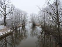 Río y árboles blancos hermosos en helada, Lituania Imagen de archivo libre de regalías