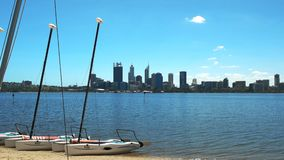 Río y catamaranes del cisne de Perth para el alquiler metrajes