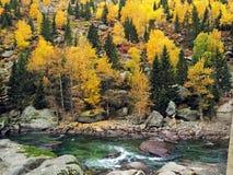 Río y Forest In Autumn colorido Fotos de archivo libres de regalías