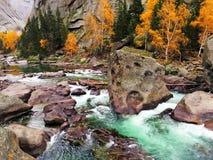 Río y Forest In Autumn colorido Imagen de archivo libre de regalías