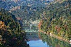 Río y puente de Tadami Imagen de archivo