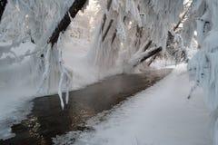 ríos de No-congelación en Oymyakon Pueblo de Tomtor, Yakutia fotografía de archivo