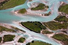 Ríos de Yarlung Zangbo en Tíbet, foto aérea Imagen de archivo libre de regalías