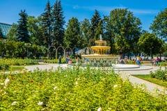 Różańcowa i ażurowa fontanna w Moskwa Gorky parku Obrazy Royalty Free