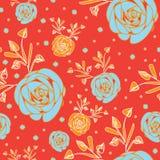 Róża kwiaty w kwiat bezszwowej powtórce deseniują tło w pomarańczowym i błękitnym ilustracji