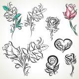 Róża plemienny tatuażu set Zdjęcie Stock