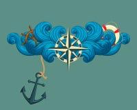 Róża wiatry z statku ` s kołem, lifebuoy i kotwicowy royalty ilustracja