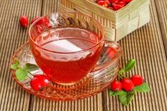 Różana modna herbata z świeżymi jagodami Fotografia Royalty Free