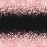 Różana złocista błyskotliwość na ciemnym przejrzystym tle wektor Obraz Royalty Free